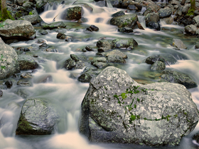 Rocks In Stream by Peter Adams.