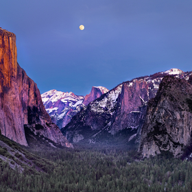 Moon Rise Over Yosemite Valley by Copyright Peter Adams. All Rights reserved..