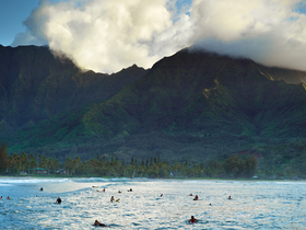 Hanalei Surfers by Peter Adams.