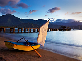 Sail boat on Hanalei Bay by Peter Adams.