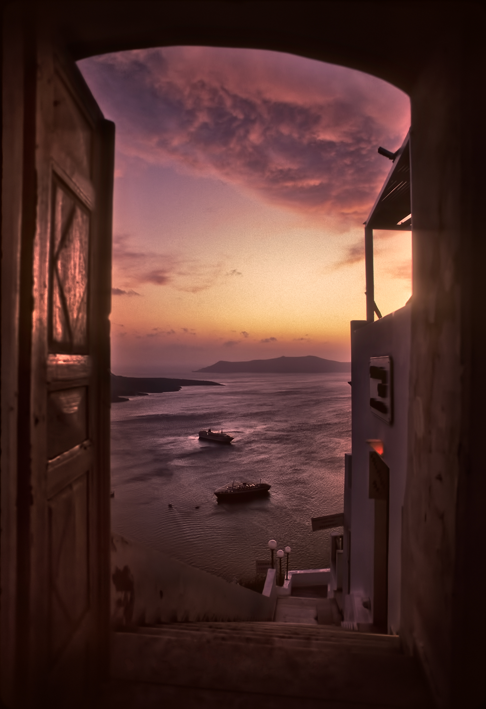 Santorini Doorway by Copyright Peter Adams. All Rights reserved..