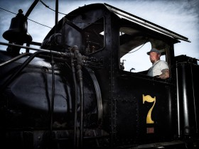 Shay Locomotive and Engineer by Peter Adams. All rights reserved.