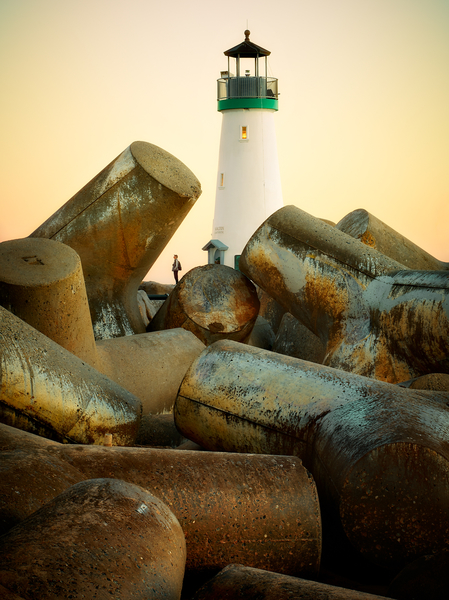 Walton Lighthouse and tetrapods in Santa Cruz, California by Peter Adams.