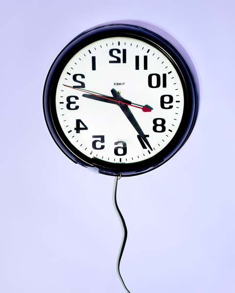 Backwards Clock by Peter Adams.