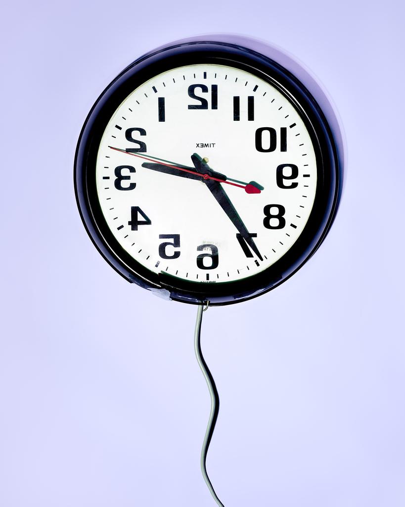 Backwards Clock by Peter Adams.