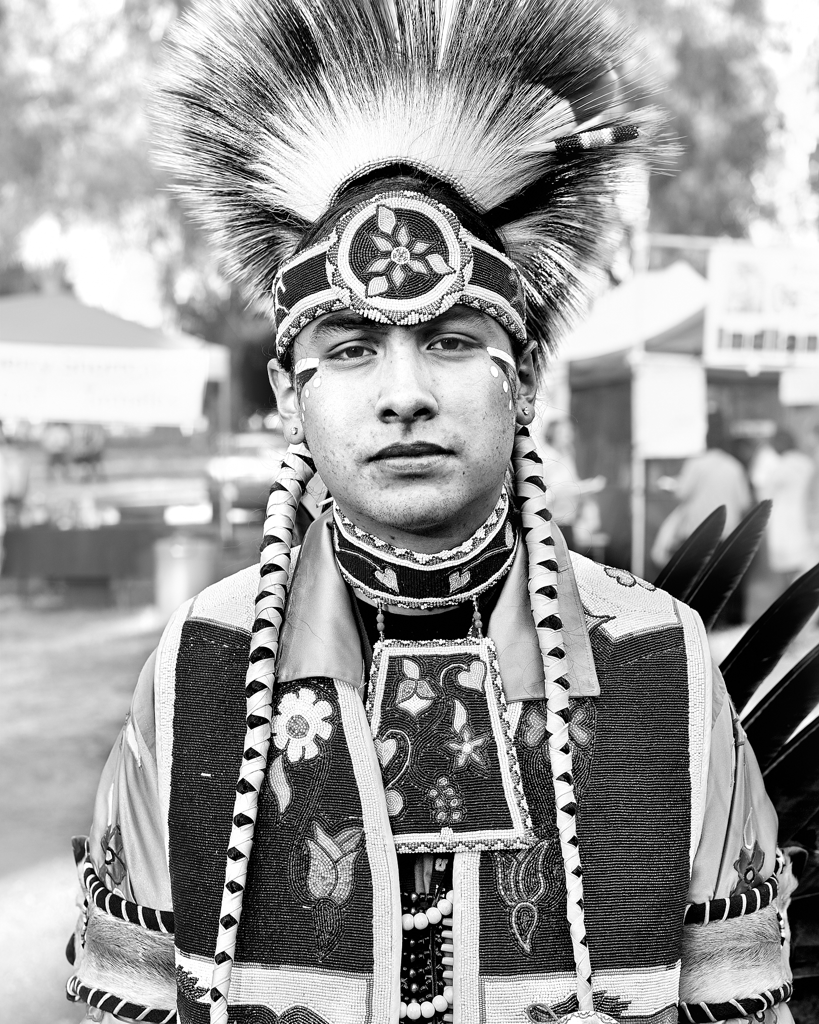 Dancer at a Native American Powwow held in Stanford, California. by Peter Adams.