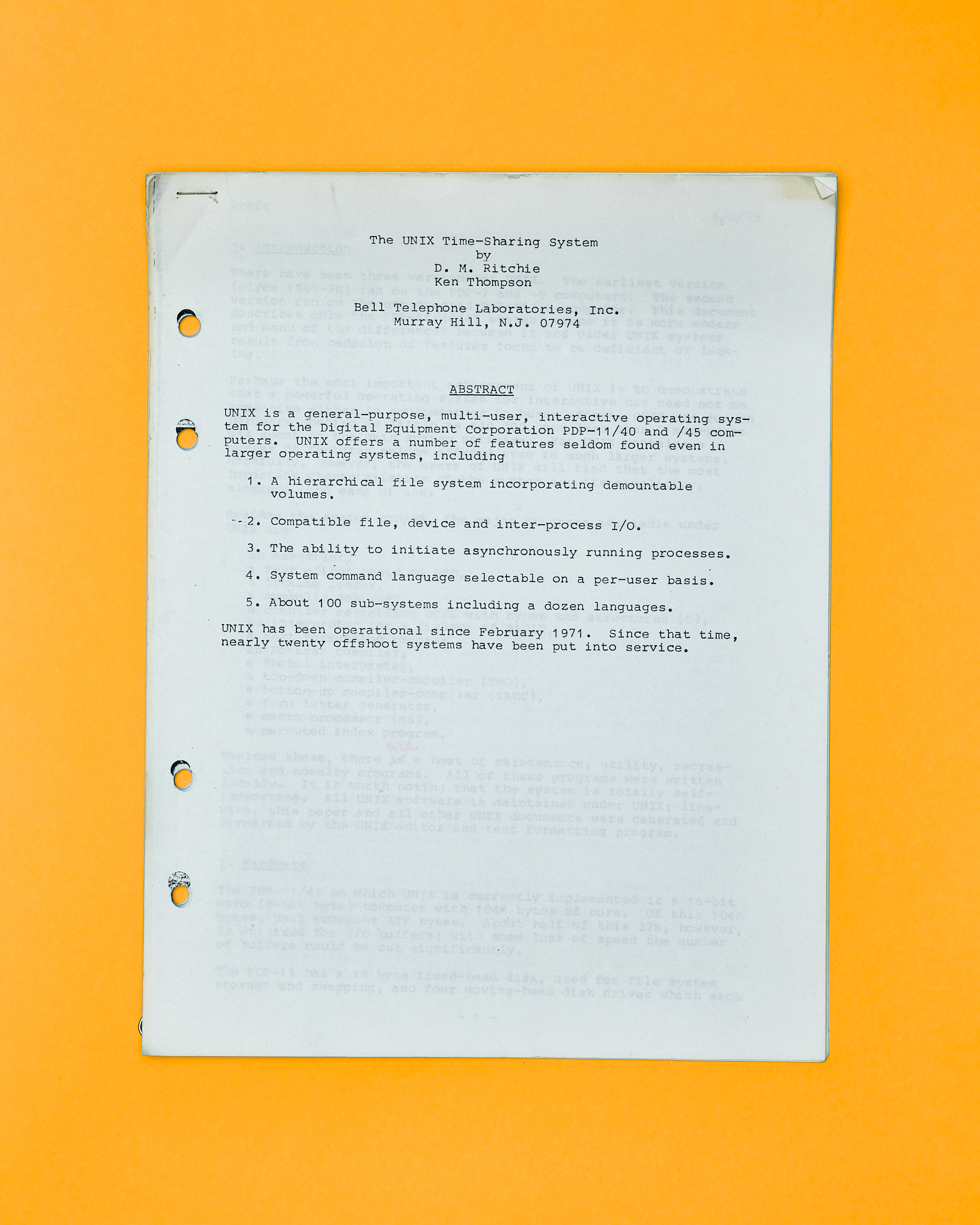 UNIX Time-sharing Paper by Peter Adams.