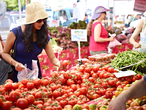 Shopping the Farmers Market by Peter Adams.