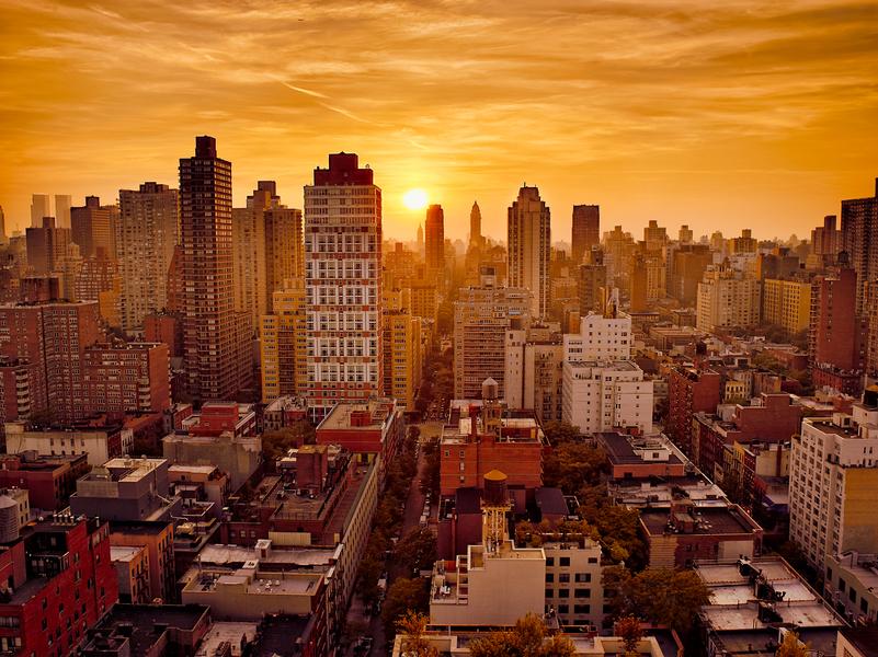 New York Sunset by Peter Adams.