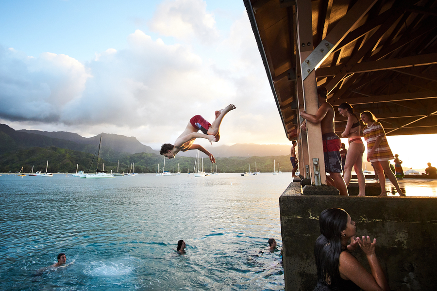 Hanalei Pier Dive by Peter Adams.