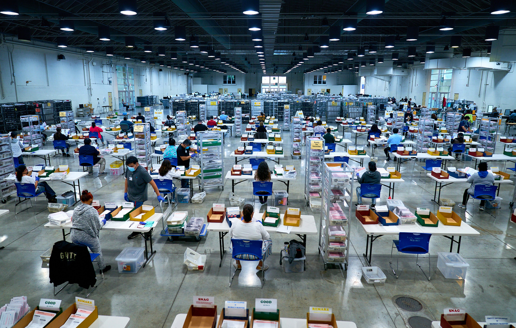 Vote By Mail Ballot Extraction. 2020 Presidential Election, absentee ballots, ballots, coronavirus pandemic, election, election security, mail ballots, politics, vote by mail, voting.