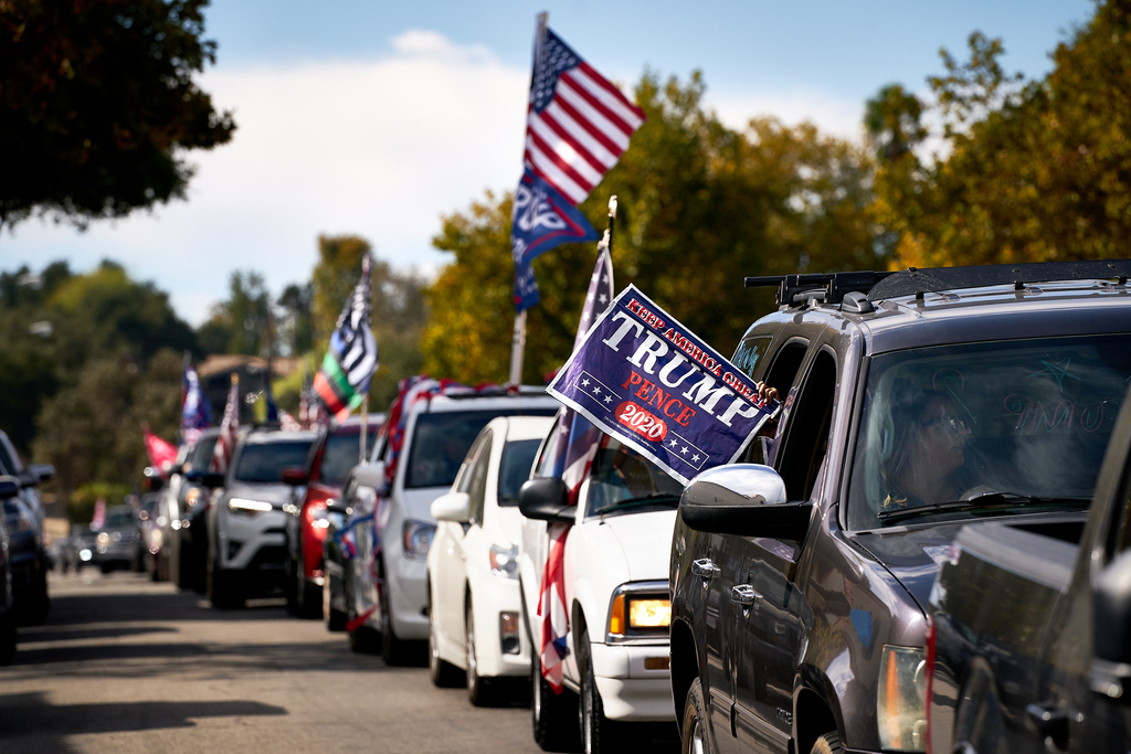 Trump Caravan. 2020 Presidential Election, election, political, political campaign, political right, political sign.