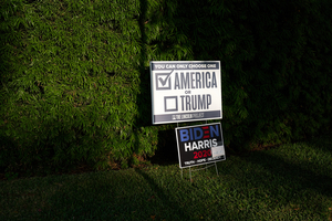 Trump or America. political, political campaign, political sign.