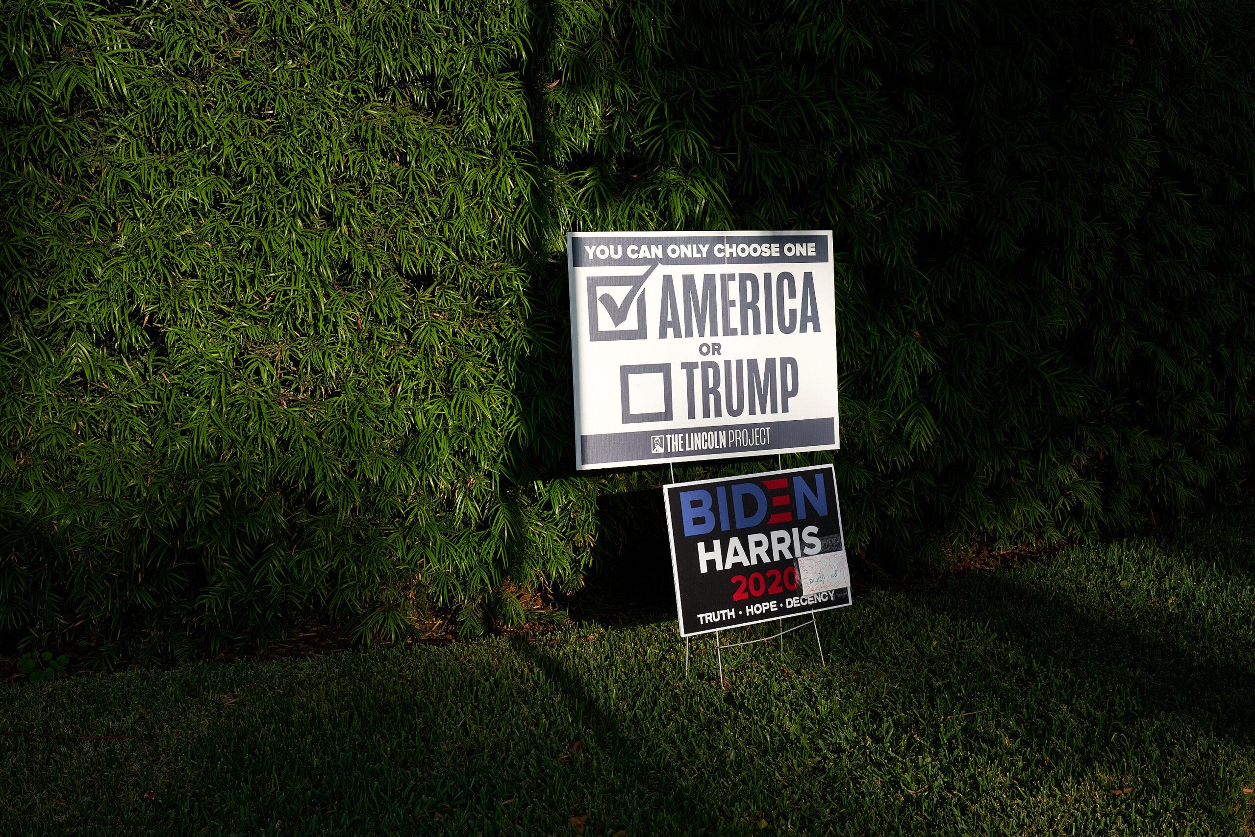 Trump or America. political, political campaign, political sign.