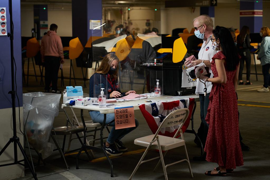 Los Angeles County Vote Center. election, election security, political, political campaign, politics, voting, voting machines, election worker.