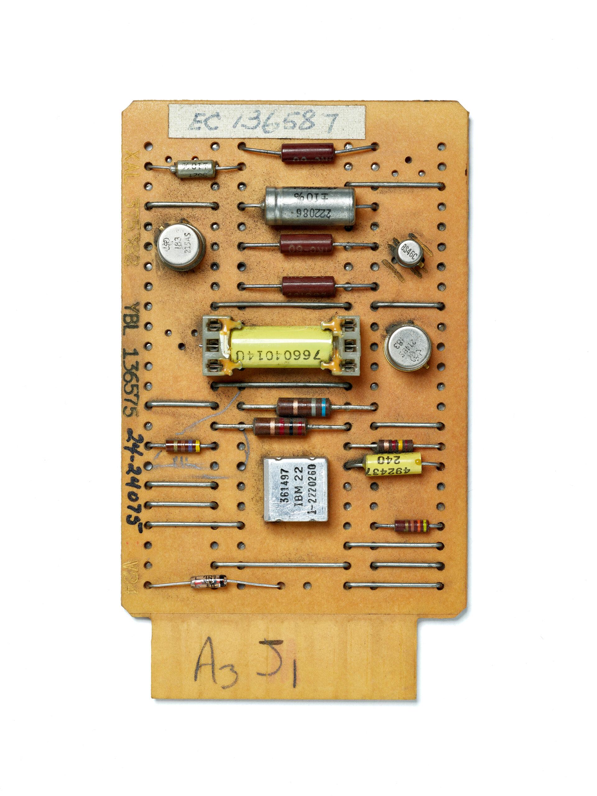 IBM SMS Card XAL. SMS Card, circuit board, computer, mainframe, tech history, transistors, vintage computing.